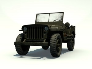 Front View of a 3D Rendered Willys Jeep on a White Background